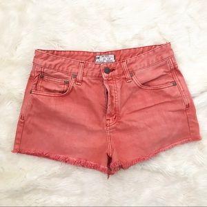 Free People | coral/melon denim cutoff shorts